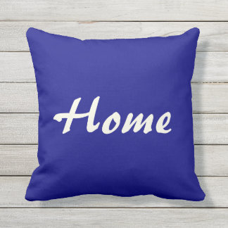 Home Sweet Home Blue and Beige Outdoor Pillow