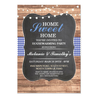 Home Sweet Home Blue Check Rustic Invite