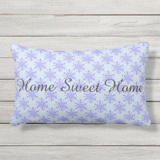 Home Sweet Home. Blue dotted stars Lumbar Pillow