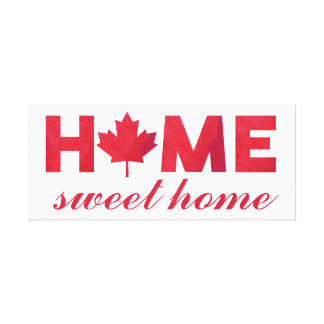 Home Sweet Home Canadian Flag Canvas Print