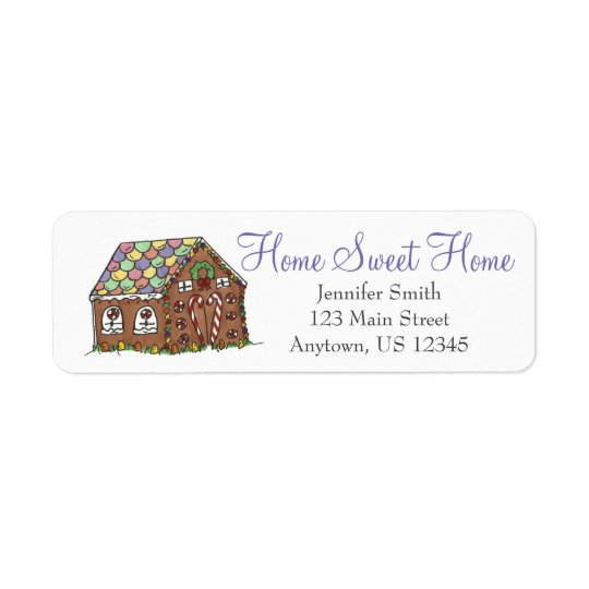 Home Sweet Home Candy Christmas Gingerbread House Return Address Label