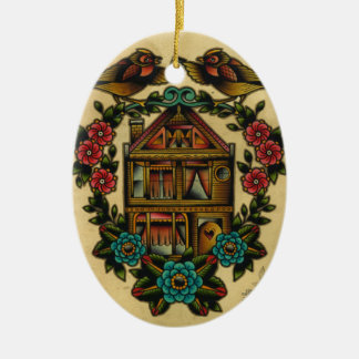 home sweet home ceramic oval ornament