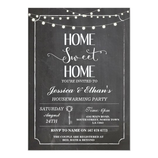 Home Sweet Home Chalk Housewarming Invitation