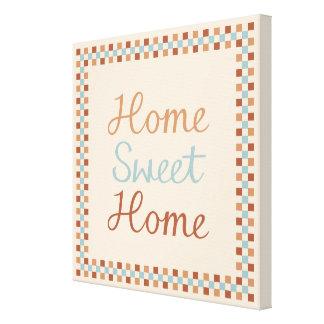 Home Sweet Home & Checks Blue Crm Terracottas Canvas Print