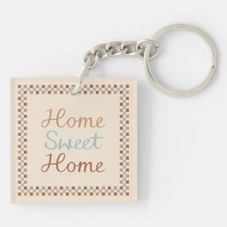Home Sweet Home & Checks Blue Crm Terracottas Keychain
