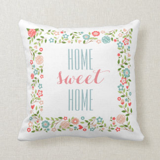 Home Sweet Home Coral Teal Floral Wreath Pattern Throw Pillow