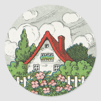 Home Sweet Home Cottage Classic Round Sticker