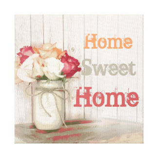 Home Sweet Home Country Mason Jar Wrapped Canvas Canvas Print