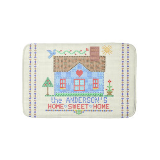 Home Sweet Home Cross Stitch House Personalized Bath Mat