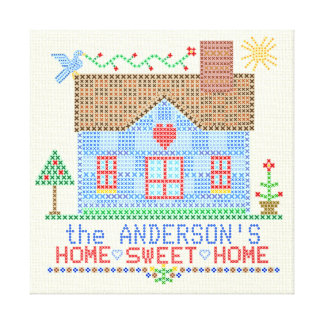 Home Sweet Home Cross Stitch House Personalized Canvas Print