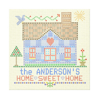 Home Sweet Home Cross Stitch House Personalized Canvas Prints