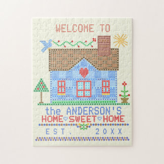 Home Sweet Home Cross Stitch House Personalized Jigsaw Puzzle