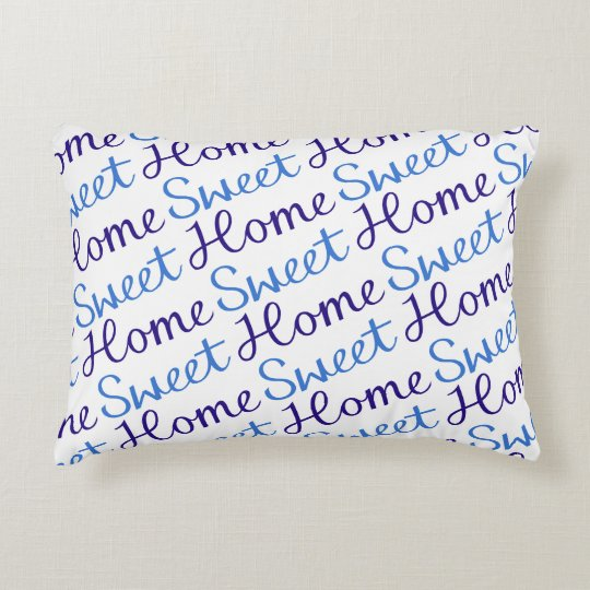 Home Sweet Home Diagonal Rpt Script Ptn Blues & Wt Accent Pillow