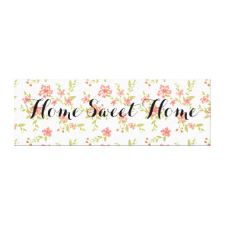 Home Sweet Home Floral Stretched Canvas Prints