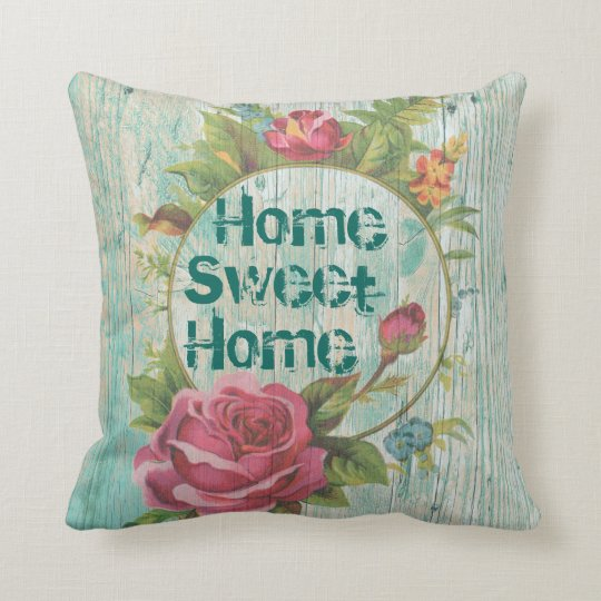 HOME SWEET HOME.Floral vintage style,make your own Throw Pillow