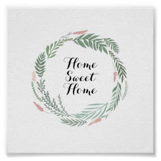 Home Sweet Home Floral Wreath Poster