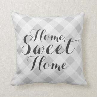 Home sweet home gray checkered throw pillow