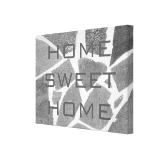 Home Sweet Home, Grey Tiles Gray Natural Stone Stretched Canvas Print