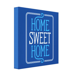 Home Sweet Home Navy Blue Canvas Print