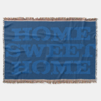 Home sweet home navy blue woven throw blanket