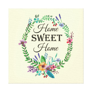 """Home SWEET Home"" Quote Watercolor Floral Stretched Canvas Print"