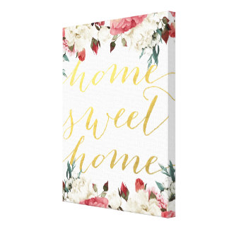 Home Sweet Home Quote Wrapped Canvas Home Decor Canvas Prints