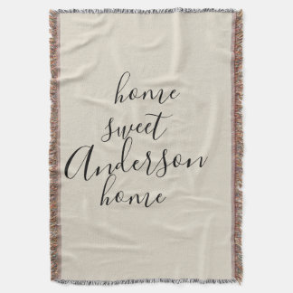 Home Sweet Home Rustic Family Name Throw Blanket