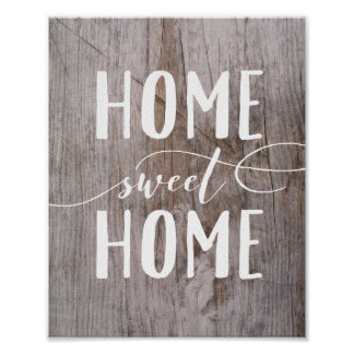 Home Sweet Home Rustic Wood Art Print