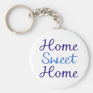 Home Sweet Home Script Design Blue & Cyan Keychain