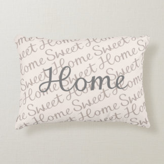 Home Sweet Home Script Design in Grey Cream Taupe Decorative Pillow