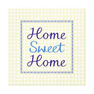 Home Sweet Home Script in Blues on Yellow Gingham Canvas Print