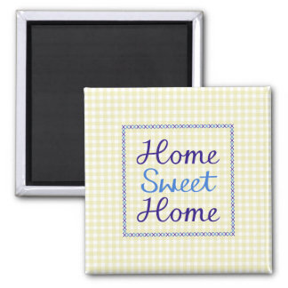 Home Sweet Home Script in Blues on Yellow Gingham Magnet