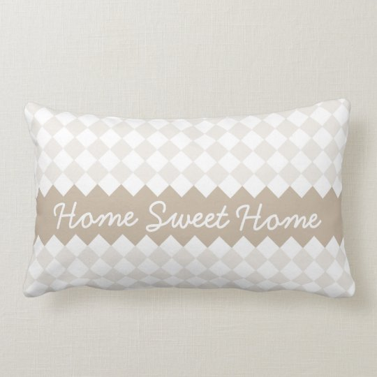 Home Sweet Home - Tan Argyle Pillow