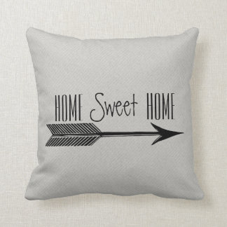 Home Sweet Home Typography With Arrow Throw Pillow