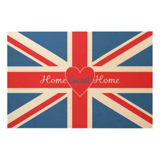 Home Sweet Home Union Jack & Heart Wood Print