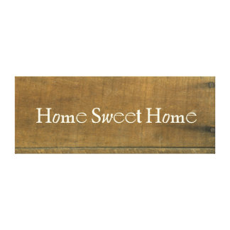 Home Sweet Home Vintage Inspired Wood Board Sign Canvas Prints