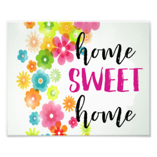 Home Sweet Home Watercolor Floral Art Print Photo