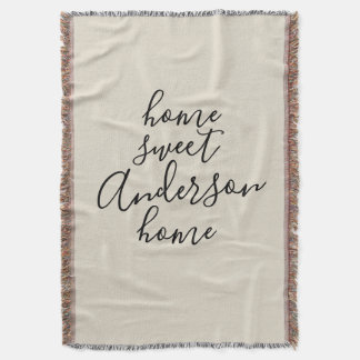 Home Sweet Home with Family Name Throw Blanket