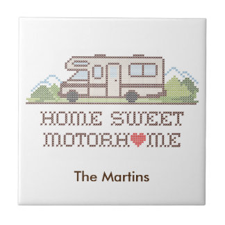 Home Sweet Motor Home, Class C Fun Road Trip Ceramic Tile