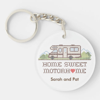 Home Sweet Motor Home, Class C Fun Road Trip Double-Sided Round Acrylic Keychain