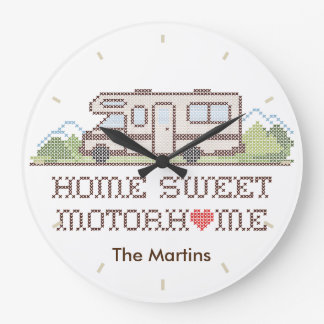 Home Sweet Motor Home, Class C Fun Road Trip Large Clock