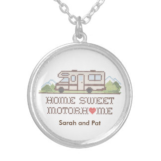Home Sweet Motor Home, Class C Fun Road Trip Silver Plated Necklace