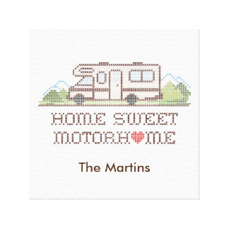 Home Sweet Motor Home, Class C Fun Road Trip Stretched Canvas Prints