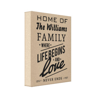 Home The Williams Family Love Vintage Typography Stretched Canvas Print