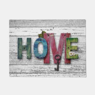 Home with Key Typography Doormat