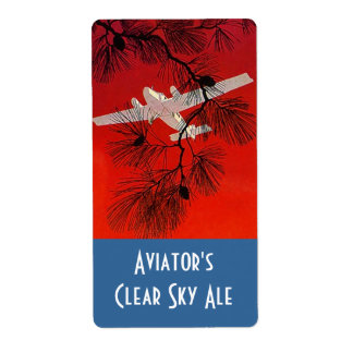 Homebrewing Beer Bottle Label Aviators Airplane Shipping Label