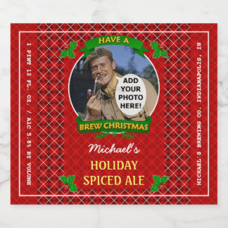 Homebrewing Brew Christmas Red Argyle Custom Photo Beer Bottle Label