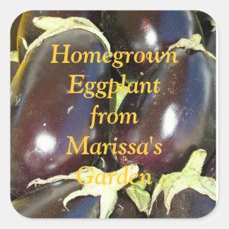 Homegrown Purple Eggplant Jar Label Square Sticker
