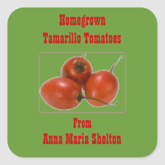 Homegrown Tamarillo Tomatoes Canning Label Custom Square Sticker