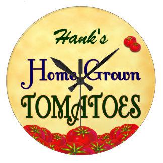 Homegrown Tomatoes Custom Gardener Wall Clock